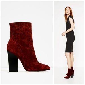 ZARA Brick Red VELVET High Heel ANKLE BOOT 37