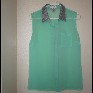 Pinky Tops - Mint sequin neck blouse
