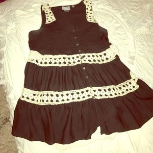 Anthropologie Black and White Knit/sheer top
