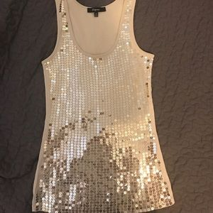 Gold sequins tank