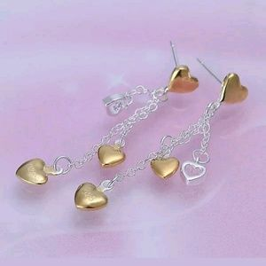 Jewelry - Sterling Silver Hanging Hearts Earrings