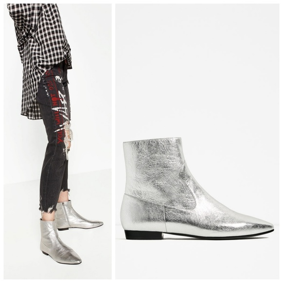 great deals detailed look on feet shots of Zara Shoes | Silver Leather Laminated Heel Flat Boot 37 | Poshmark