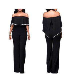 Pants - 🆕Sexy Off Shoulder High Waist Wide Leg Romper