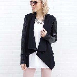 Jackets & Blazers - Vegan Leather Drape Jacket - Black
