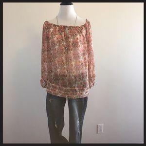 Zara sheer floral print blouse