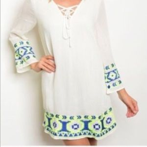 ⬇️White Dress w Neon Embroidered hem and Sleeves