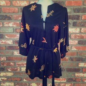 Vintage I.Magnin sweater top kimono sleeve belted