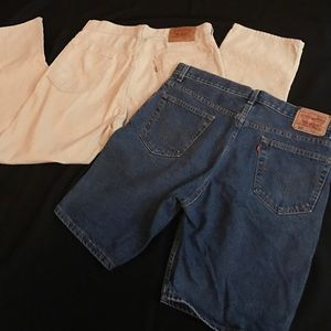 Levi's Other - LEVIS 505 BLUE JEAN SHORTS & CREME CORODOYS PANTS