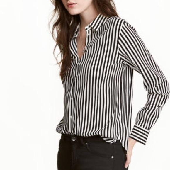 5c58aebb73 H&M Tops   Hm Vertical Striped Blouse   Poshmark