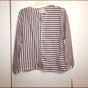 Vintage vertical and horizontal stripes blouse