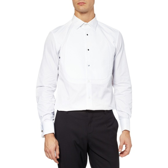 af9b9db0fb2 Yves Saint Laurent Shirts | Ysl White Tuxedo Button Up Bib And ...