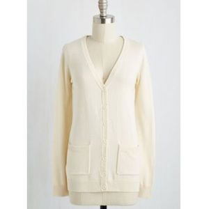 "ModCloth Sweaters - Modcloth ""Have A Good Knit"" Ivory Cardigan"