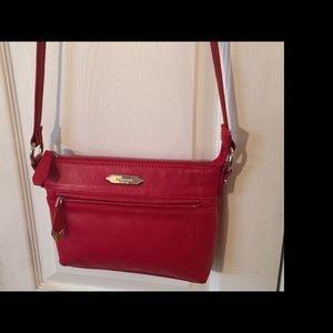 Perlina Handbags - Perlina Purse Crossbody Mini Red Leather Signature
