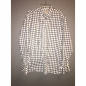 J Crew Grey Gingham Men's Button Down Sz S 14 1/2