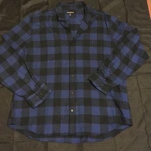 Express Other - Express Blue plaid Flannel Button Down Shirt XXL