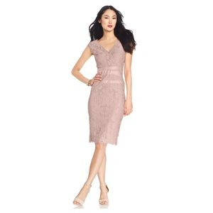Adrianna Papel Lace Blush Dress (Size 10)
