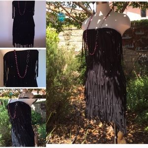 Indah Dresses & Skirts - Indah Fringed Dress Small Black Festivals