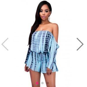hot miami styles Pants - Tie dye blue off shoulder jumper romper forever 21