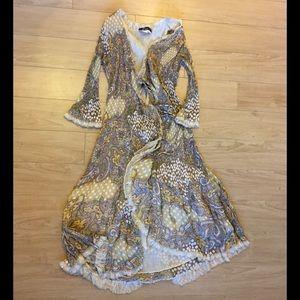 Alberto Makali Dresses & Skirts - I ALBERTO MAKALI WRAP DRESS M TIE LAYERED FLOWING