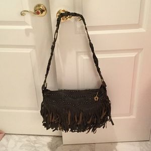 Betsy Johnson brown leather fringe purse worn once