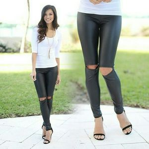 Pants - NWT FAUX LEATHER CUT OUT KNEE LEGGINGS
