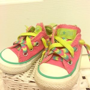 """Converse Other - Pink """"no time to lace"""" toddler converse"""