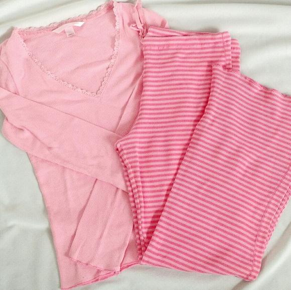 Victoria s Secret Pajamas Thermal Pink Striped M. M 58b0e8bf620ff760a500528a b60ebf3b9