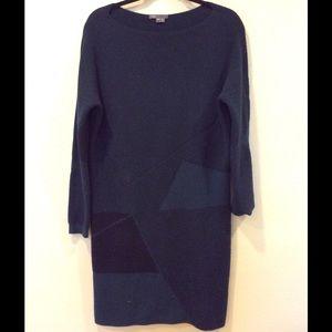 Vince geometric wool cashmere long sleeve dress