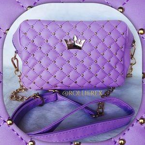 Handbags - Purple Quilted Crown Bag