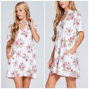 Dresses & Skirts - Floral Brushed Choker Dress