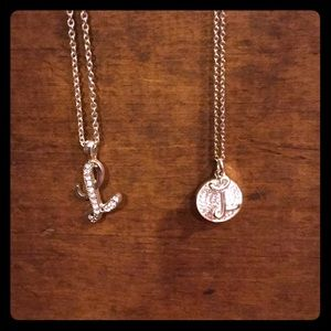 Jewelry - 30% OFF BUNDLES two L necklaces silver tone