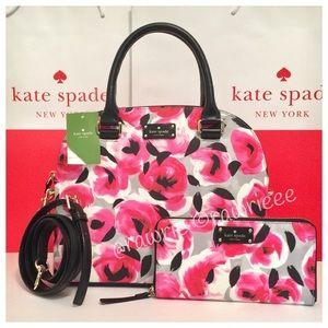 kate spade Handbags - New Kate Spade roses Satchel & matching wallet set