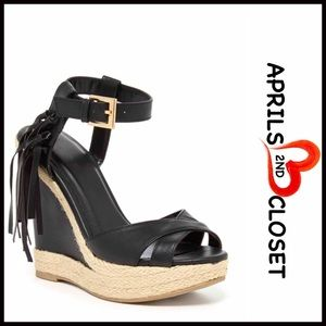 Boutique Shoes - Wedge Sandals Fringe Ankle Strap Heels
