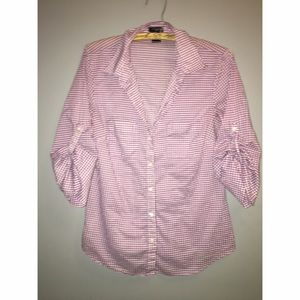 Ann Taylor purple & white gingham Button Down Sz 8