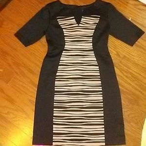 Connected apperal black and white stripped dress