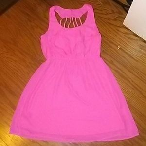 Pink flowey tube top dress