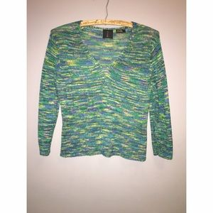 Green M A G Silk Sweater Sz Small