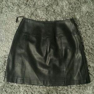 wrapper Dresses & Skirts - True vintage 90s faux leather mini skirt!