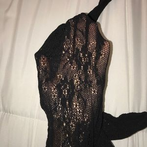 Accessories - Black Floral Fish Net Tights S