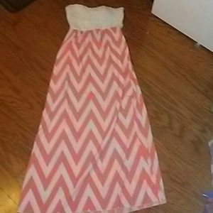 Strapless white and peach summer dress