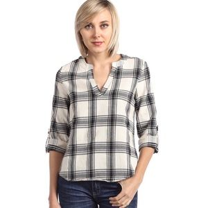 ✨ SALE Rolled Sleeve Split Neck Plaid Check Top