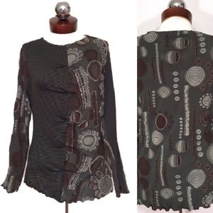 anac Tops - ANAC $138 kimi ruched Art to wear mixed print top