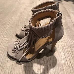 Chinese Laundry Shoes - Chinese Laundry suede grey fringed heels size 5.5