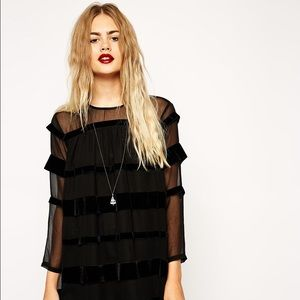 ASOS Swing Dress with Velvet Ribbon Stripe.