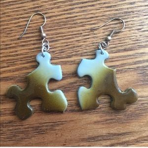 handmade Jewelry - Brown and grey airbrush puzzle earrings
