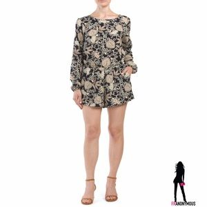 One Clothing Pants - Long Sleeve Floral Romper S M L
