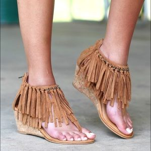 naughty monkey Shoes - Fringe Layers and Chain Wedge