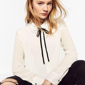 Zara Tops - Zara double shirt with bow collar -- medium
