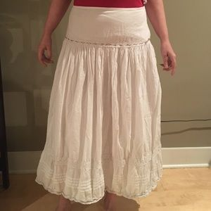 Valerie Stevens Dresses & Skirts - White maxi skirt with silver ribbon and lace