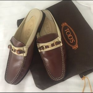 Tod's brown/tan leather mules gold buckle hardware